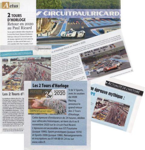 La presse parle du retour des 2 Tours d'Horloge 2020 sur le Circuit Paul Ricard les 6, 7 et 8 novembre !
